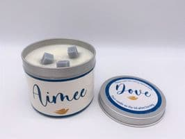 'Dove' Highly Scented Candle Tin – can be personalised