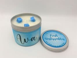 'Fresh Unstoppables' Highly Scented Candle Tin – can be personalised