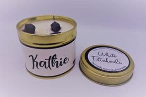 'White Patchouli' Highly Scented Candle Tin – can be personalised
