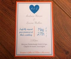 Day Invitation with matching coloured envelope