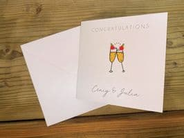 Engagement Card - 'Pompom Champagne' - Personalised