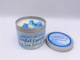 Malton Brown Coastal Cypress & Sea Fennel Highly Scented Candle Tin – can be personalised