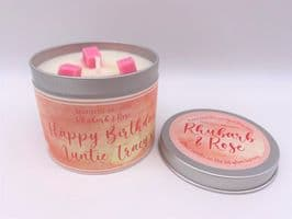 Malton Brown Rhubarb & Rose Highly Scented Candle Tin – can be personalised