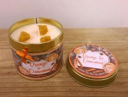 Orange & Cinnamon Highly Scented Candle Tin – can be personalised