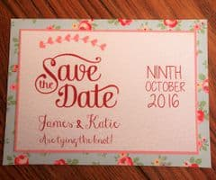 Save the Date inc pale pink envelopes