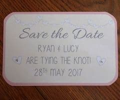 Save the Date with blush pink envelopes