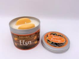 Sweet Orange Highly Scented Candle Tin – can be personalised (1)