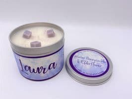 Winter Honeysuckle & Elderflower Highly Scented Candle Tin – can be personalised (1)