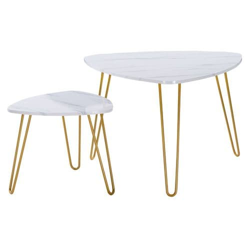 2 Marble Veneer Aria Coffee Side Tables - with Gold Metal Hairpin Legs - Nesting Tables