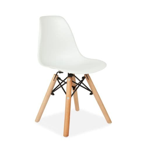 2 White Children's Chairs - with Wooden Legs