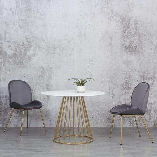 Liverpool & Artemis DINING SET – White Marble Effect Dining Table and Two Stone Grey Chairs