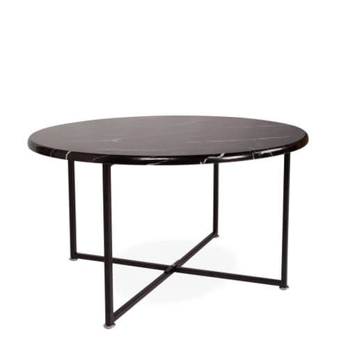 Modern Round Black Marble Effect Kent Coffee Table - with Black Legs