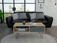 OLYMPIA Modern Coffee Table, Bleached Pine & Grey Stone