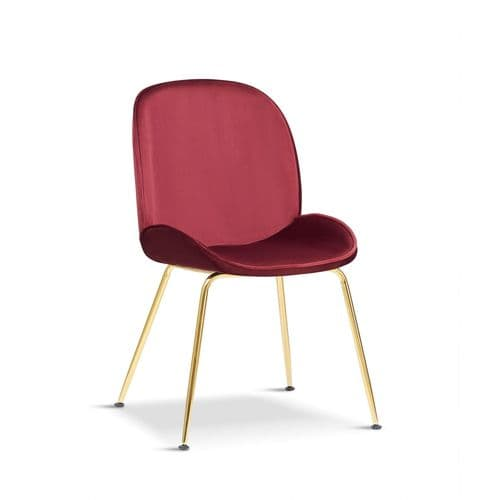 Set of 2 ARTEMIS Velvet Dining Chairs - Red and Gold