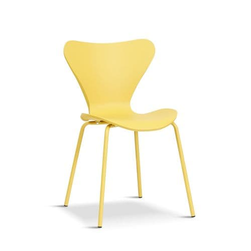 Set of 2 BRISTOL Yellow Stacking Dining Chairs