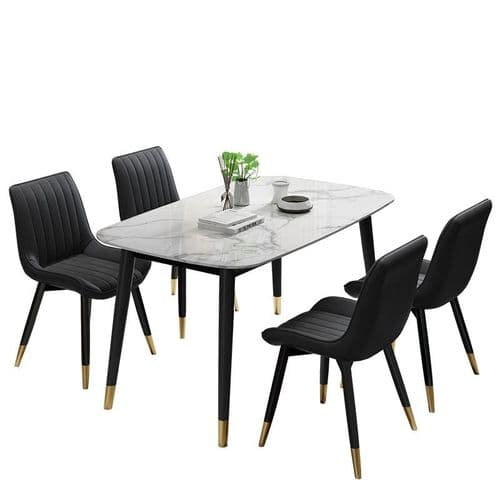 Set of 4 FITZGERALD Dining Chairs, Black PU Leather