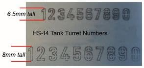 HS14 Tank Turret Numbers