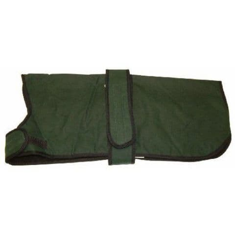 """26"""" Green Waxed Dog Coat Water Resistant and Fleece Lined Sale Price RRP £29.99"""