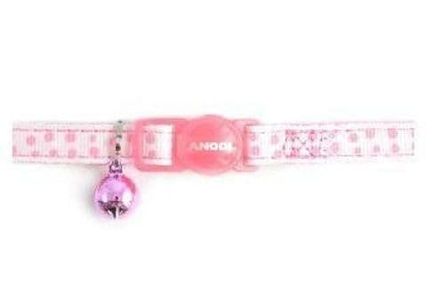 Ancol Nylon Soft Cat Collar Pink Dotty safety buckle + Bell pack of three