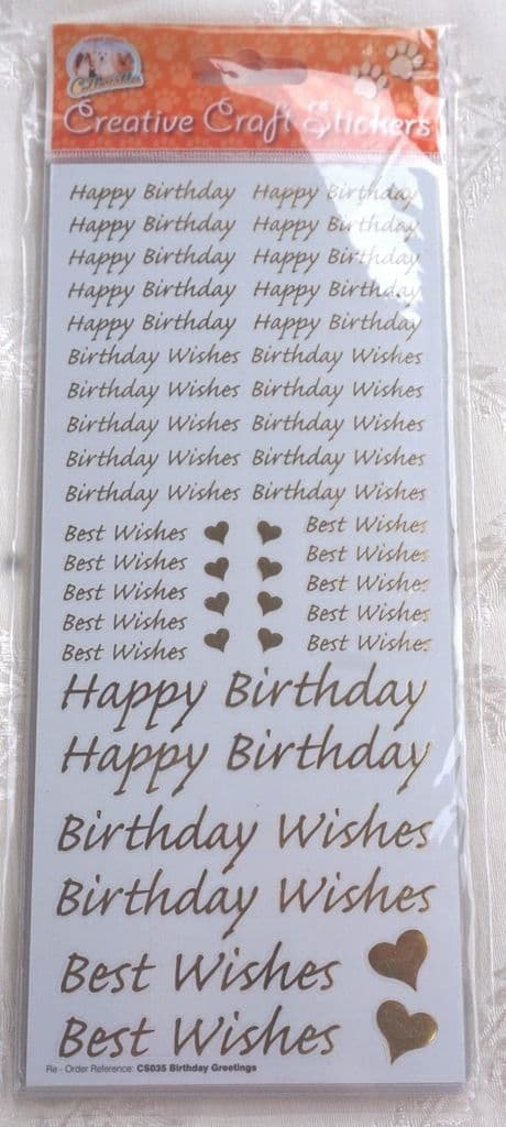 BIRTHDAY GREETINGS CRAFT PEEL OFF STICKERS IN GOLD WITH HEARTS