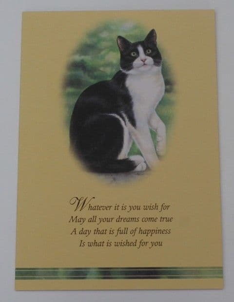 Black and white Cat card with verse