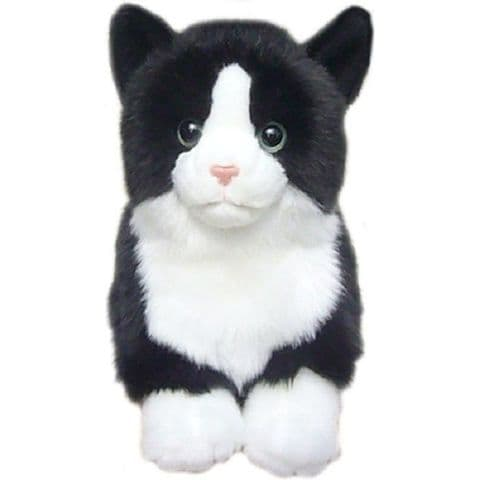 """Black and White Top Quality Cuddly toy Cat 12"""""""