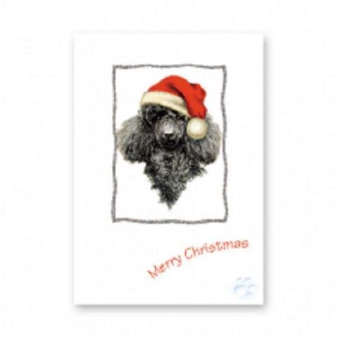 BLACK POODLE CHRISTMAS GREETINGS CARD one card or a pack of five