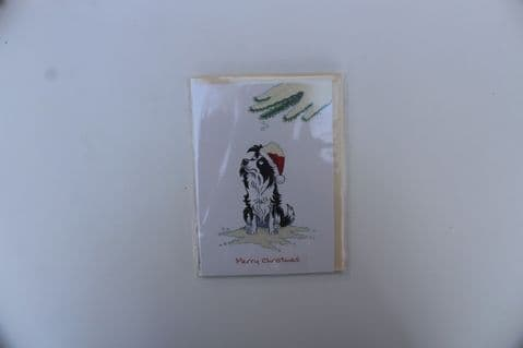 BORDER COLLIE CHRISTMAS GREETINGS CARD