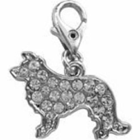 BORDER COLLIE CLEAR CRYSTAL CHARM FOR BAGS PHONES JEWELLERY CLEAR CLIP ON CHARM
