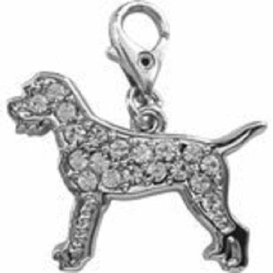 BORDER TERRIER CLEAR CRYSTAL CHARM FOR BAGS PHONES JEWELLERY CLEAR CLIP ON CHARM