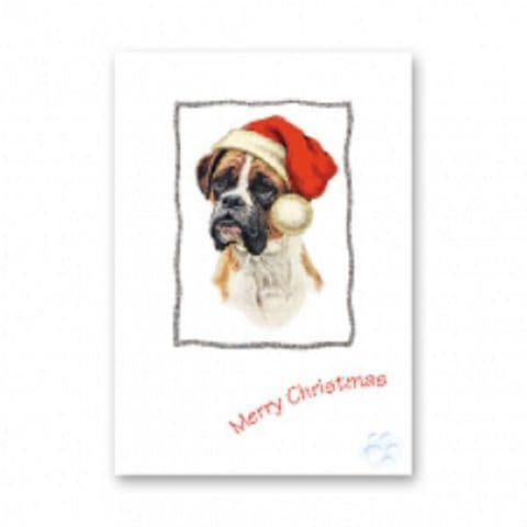 BOXER CHRISTMAS GREETINGS CARD GLITTER