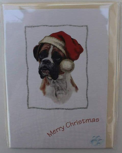 BOXER DOG CHRISTMAS GREETINGS CARD GLITTER
