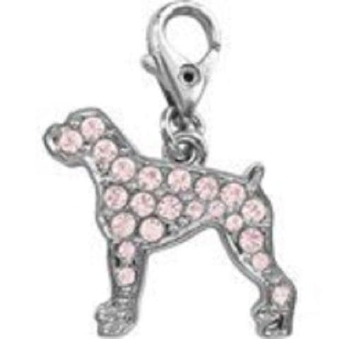 BOXER DOG PINK CRYSTAL CHARM FOR BAGS PHONES JEWELLERY ETC