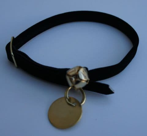 CAT COLLAR AND ID TAG SPECIAL OFFER - BLACK VELVET SAFETY COLLAR AND BRASS TAG