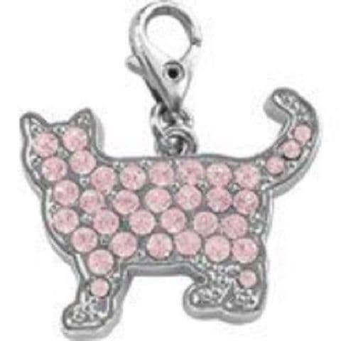 CAT CRYSTAL PINK CHARM FOR BAGS PHONES JEWELLERY ETC