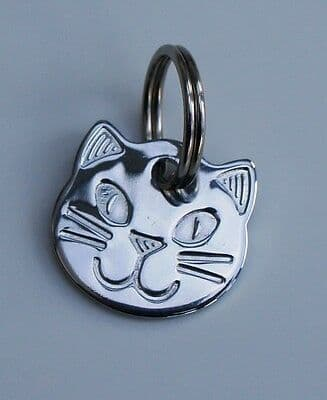 CAT ID Tag Engraved Quality  Chrome Solid Brass Cat Shape Face buy 2 or more for an extra  discount
