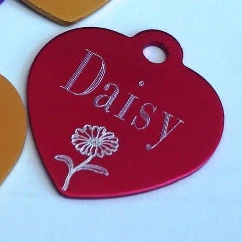 DAISY DOG NAME TAG 35MM HEART TAG PERSONALISED WITH YOUR DETAILS ON REVERSE
