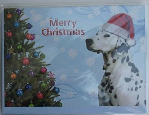 DALMATIAN CHRISTMAS CARD with Xmas hat