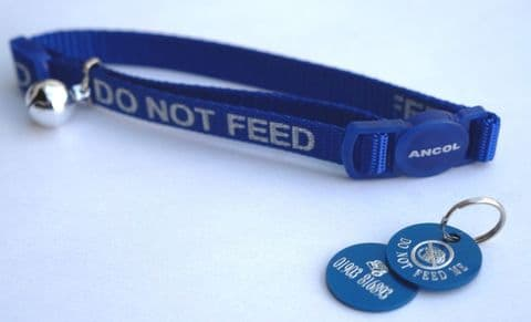 DO NOT FEED REFLECTIVE SAFETY CAT COLLAR BLUE & PERSONALISED TAG & CAT BOWL ICON