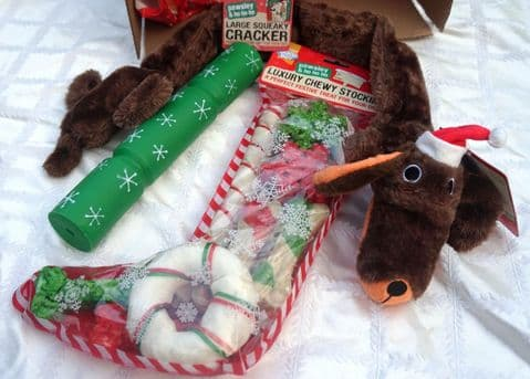 DOG CHRISTMAS SAUSAGE DOG GIFT BOX WITH LARGE TOYS AND CHEW TREAT STOCKING