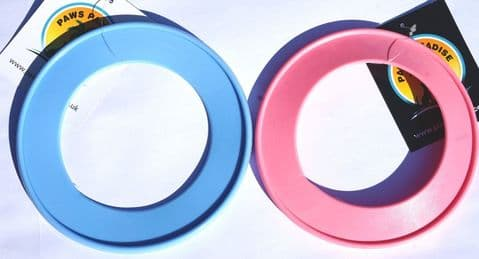 DOG FRISBEE/ RING FLYER DOG PUPPY FETCH TOY PINK/BLUE