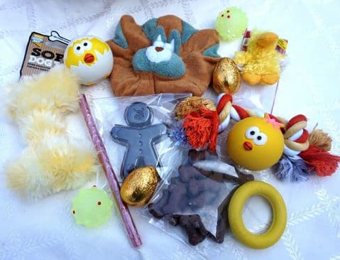 DOG PARTY HAMPER WITH TOYS AND TREATS FOR TOY SMALL DOGS AND PUPPIES
