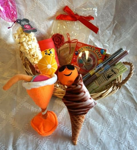 DOG SUMMER BIRTHDAY HAMPER WITH CARD CAKE ROCK POPCORN WINE FREEZE POP