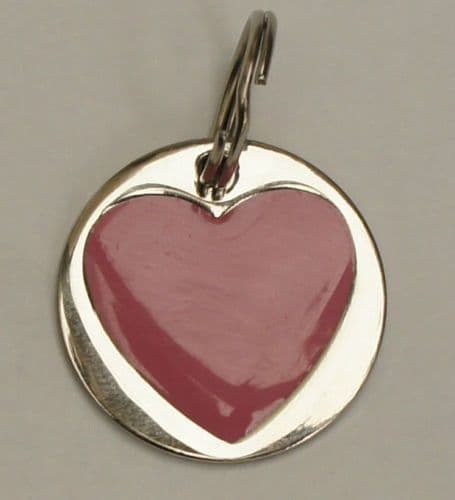 DOG TAG WITH PINK ENAMEL  ENGRAVED