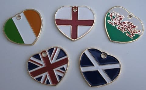 ENGRAVED PET ID TAGS - FLAG DESIGN  WALES ENGLAND SCOTLAND IRELAND GREAT BRITAIN