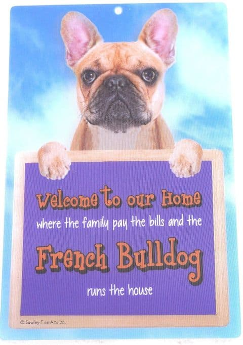FRENCH BULLDOG 3D WELCOME SIGN STUNNING EYE CATCHING 23CM X 15CM DURABLE SIGN