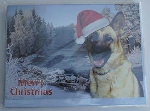 GERMAN SHEPHERD CHRISTMAS CARD with Xmas hat