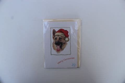 GERMAN SHEPHERD CHRISTMAS GREETINGS CARD WITH GLITTER BORDER