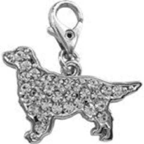 GOLDEN RETRIEVER CLEAR CRYSTAL CHARM FOR BAGS PHONES JEWELLERY ETC
