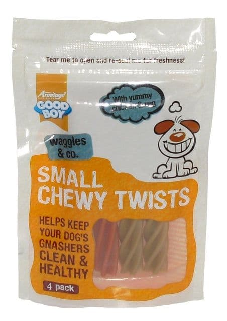 Goodboy Wagles & Co Dog Chicken & Veg Small Chewy Twists Dental Treat Snack - 4 Pack box of  12